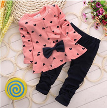 2016 Girls clothes Baby Girl Clothing Set Children Flower Bow Cute Suit 2PCS Kids Twinset Top T Shirt +Plaid Pants Leggings(China (Mainland))