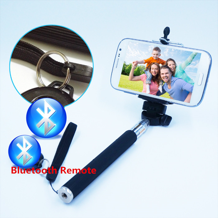 Hot Sale Extendable Stick Handheld Monopod+Phone Clip+Wireless Bluetooth Remote Button for Samsung iPhone Huawei Xiaomi(China (Mainland))