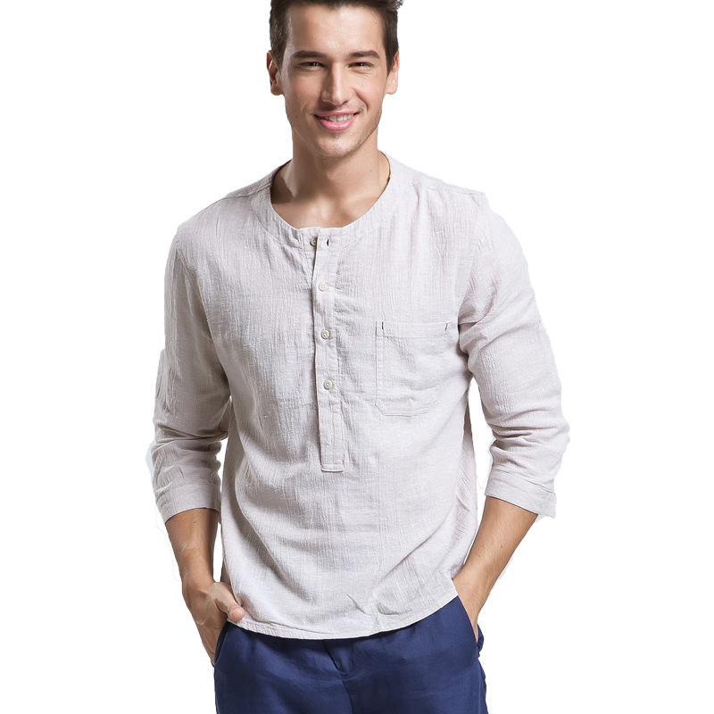 Online buy wholesale collarless shirt men from china for Mens summer linen shirts