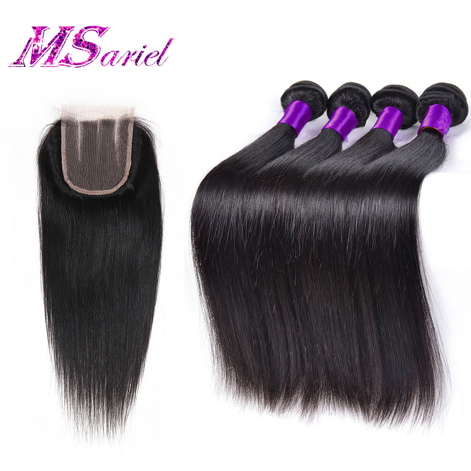 Peruvian Straight Virgin Hair With Closure 4pcs Straight Virgin Hair With Closure Unprocessed Virgin Peruvian Hair With Closure