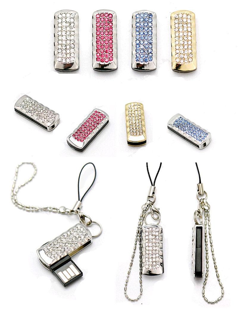 Wholesale Full Capacity 4GB 8GB 16GB 32GB Bling Shing Rhinestone Diamond Simple Model 2.0 Memory Stick USB Flash Pen Drive(China (Mainland))