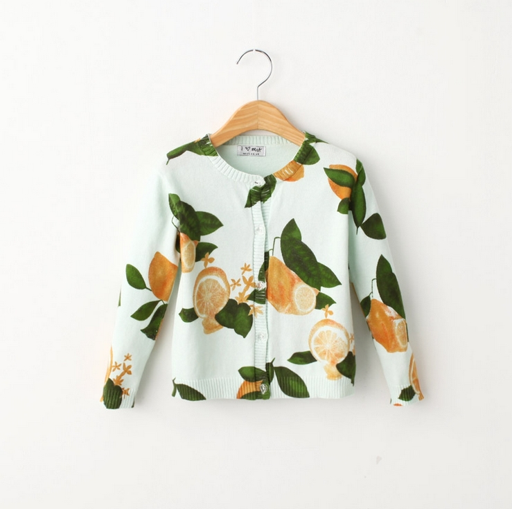 2016 New Brand Autumn Gilrs Sweater Lemon Pattern Knitting Sweater Cardigan Children Sweater Casual Soft High Quality !(China (Mainland))