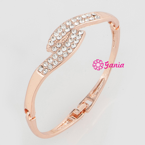High Quality High Crystal Hinged Bangles, Rhinestone Crystal Rose Gold Plated Hinged Wave Bangles Bracelet for Women Gift Item(China (Mainland))