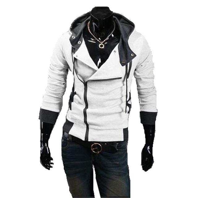 Горячая новая весна и осень 2016 мужской моды случайные кореи Тонкий сплошной цвет сшивание высокого качества с капюшоном куртки
