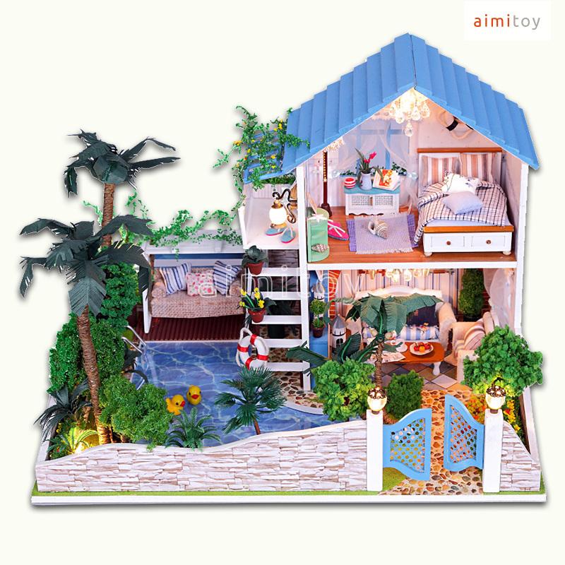 A50 Big Wood Doll House Blue Garden House W Swimming Pool Palm Tree Amazing Miniature Diy