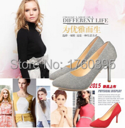 2015 Women's bling bling Pointed Toe High Heels Rivets Shoes Fashion gold Wedding Party Pumps Big size Free shipping(China (Mainland))