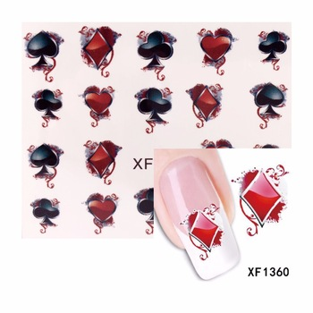 YZWLE 1 Sheet Water Transfer Nail Art Sticker Poker Designs Watermark Decals DIY Decoration For Beauty Nail Tools 1360