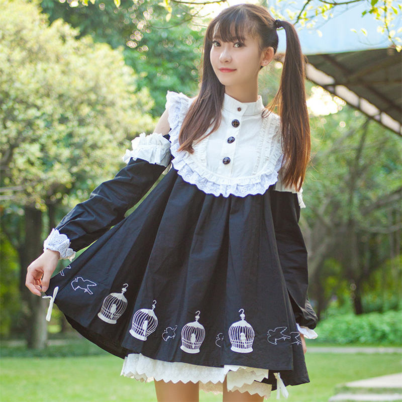 Japanese Spring Autumn Lace Ruffles Cute Print Lolita Dress Women Mori Girl Kawaii Lantern Sleeve Maid Girls Dolly Dresses V070(China (Mainland))