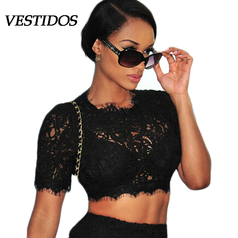 2015 Summer Hot Sexy Female Lace Crop TOP Women Shirt Lace top Short Sleeve Hollow Out Embrodiery White Croped women blousesОдежда и ак�е��уары<br><br><br>Aliexpress