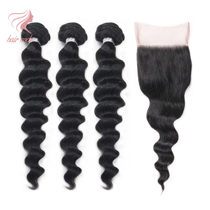 Brazilian Loose Wave With Closure Grade 7a Unprocessed Virgin Hair With Closure  Wet And Wavy Virgin Brazilian Hair With Closure