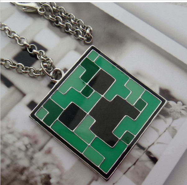 Summer Style Minecraft Cute Green Necklaces Pendants Fashion Women JJ Monster Necklace Normal Trendy Jewelry(China (Mainland))