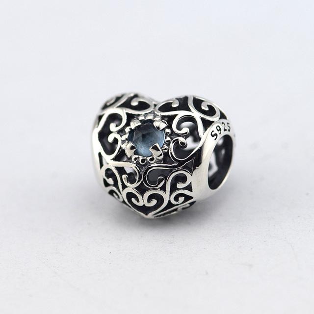 925 - серебристо-ювелирные бусины сентября подпись в форме сердца бусины Fit пандора оригинальный браслет серебряные ювелирные изделия DIY мода
