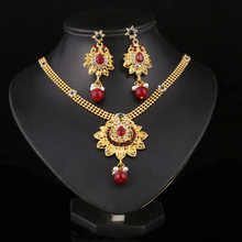 Gothic Ethnic Style 24K Gold Filled Coral Beads Pendant Necklace Jewelry Sets Flowers Crystal Fashion Wedding Jewelry Sets(China (Mainland))