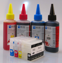 950 951 Refillable INK cartridge for HP Officejet Pro 8100 8600 251dw 276dw + for hp Premium Universal 4 Color Dye Ink 400ML(China (Mainland))