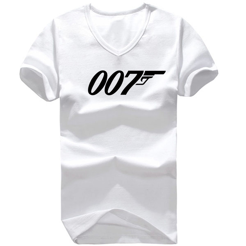 Popular Top Quality Short Sleeve James Bond 007 T Shirts for Men Leisure V Neck T Shirt Top Quality Male Man Sports t-shirts(China (Mainland))