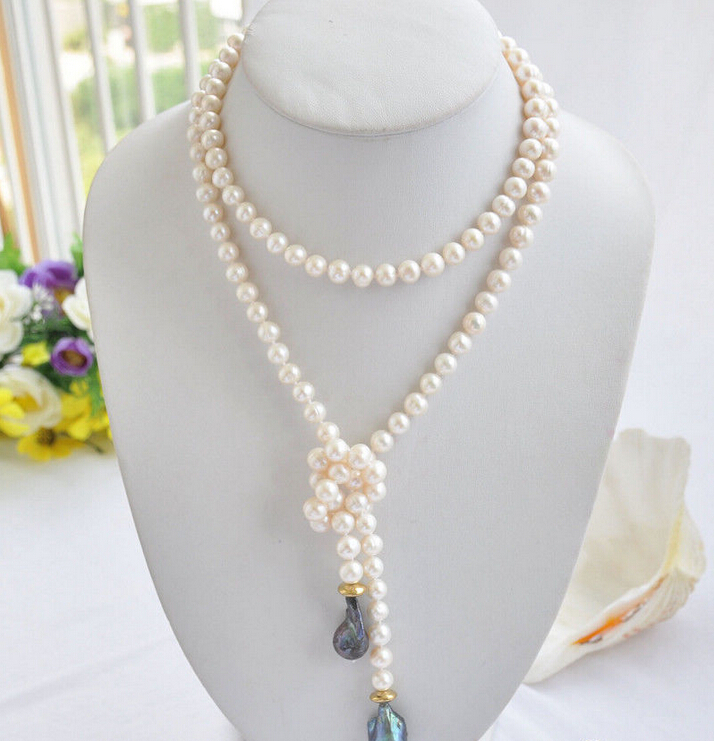 song voge gem nanJ0460 black keshi baroque white round freshwater pearl necklace(China (Mainland))