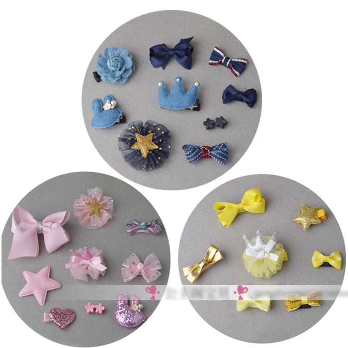 6pcs/7pcs/10pcs in 1 set Mix Style Baby Hair Bows with Full Covered Clips infant Hair Clips mini Hair Pins Crown Wispy Clippy(China (Mainland))
