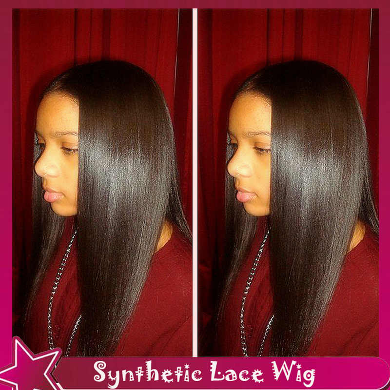 Thin Fine Hair Products Synthetic Lace Front Wig Long Silky Straight Natural Black Fiber Hair No Lace Cheap Wigs For Black Women(China (Mainland))