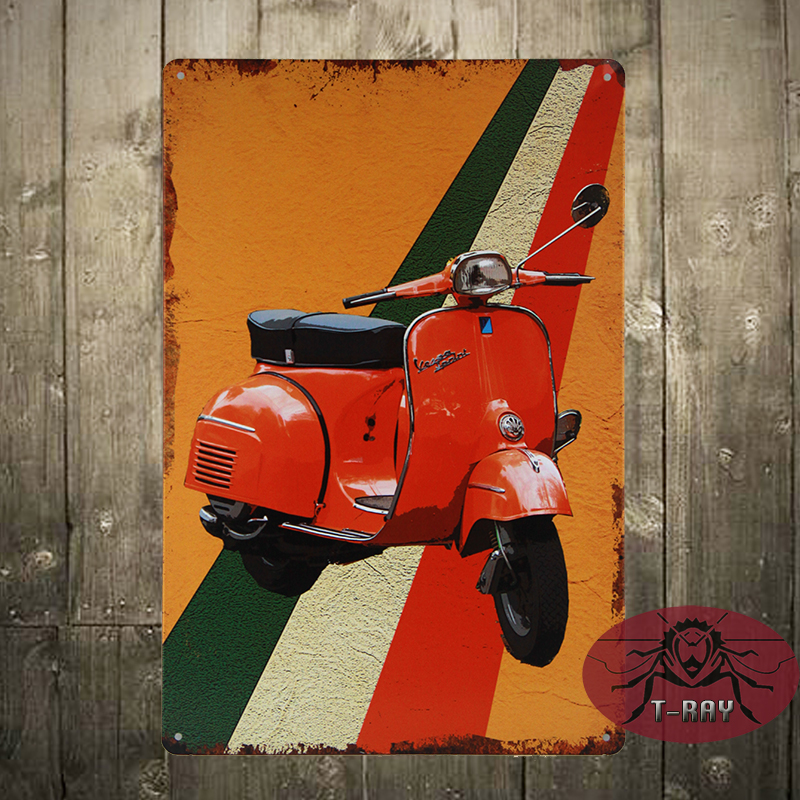 Retro Vintage Metal Sign Plaque Vespa Scooter Ti Amo Italy Wall Art Sign Gift C-29(China (Mainland))