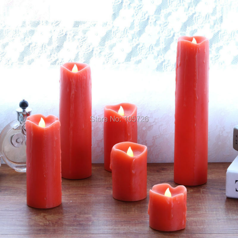 Flameless Electronic Wedding Red Candles Decorative Led wax Candle Light/Tear drips/Romantic propose marriage Hotel Home Decor(China (Mainland))