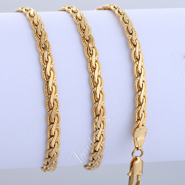 Mens Chain Gold Filled Necklace 3/4.5mm Flat Hammered Wheat Necklace Wholesale Jewelry Bulk Price LGNM24(China (Mainland))