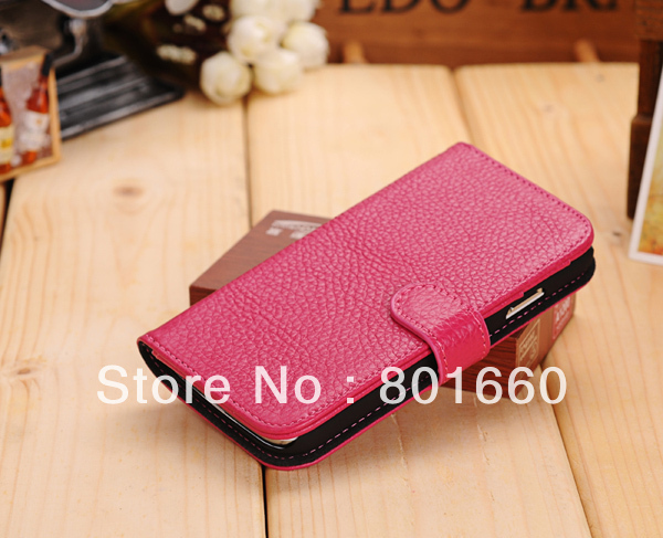 For Samsung Galaxy S IV S4 I9500 High-grade Genuine Leather Wiht Credit Card Slot Flip Stand Cover Case