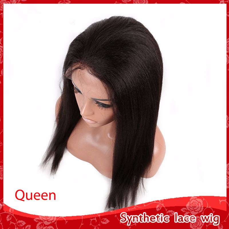 Cheap Brazilian Synthetic lace front wigs yaki kinky straight wigs for black women glueless heat resistant wigs with baby hair
