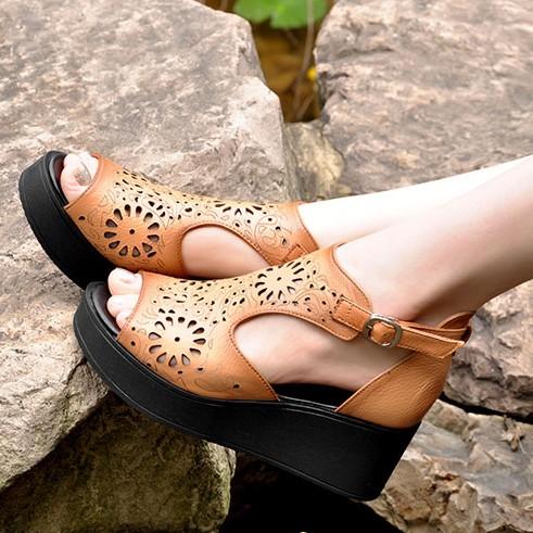 Platform wedges sandals national cutout trend genuine leather open toe shoe flower vintage sandals gladiator platform shoes<br><br>Aliexpress