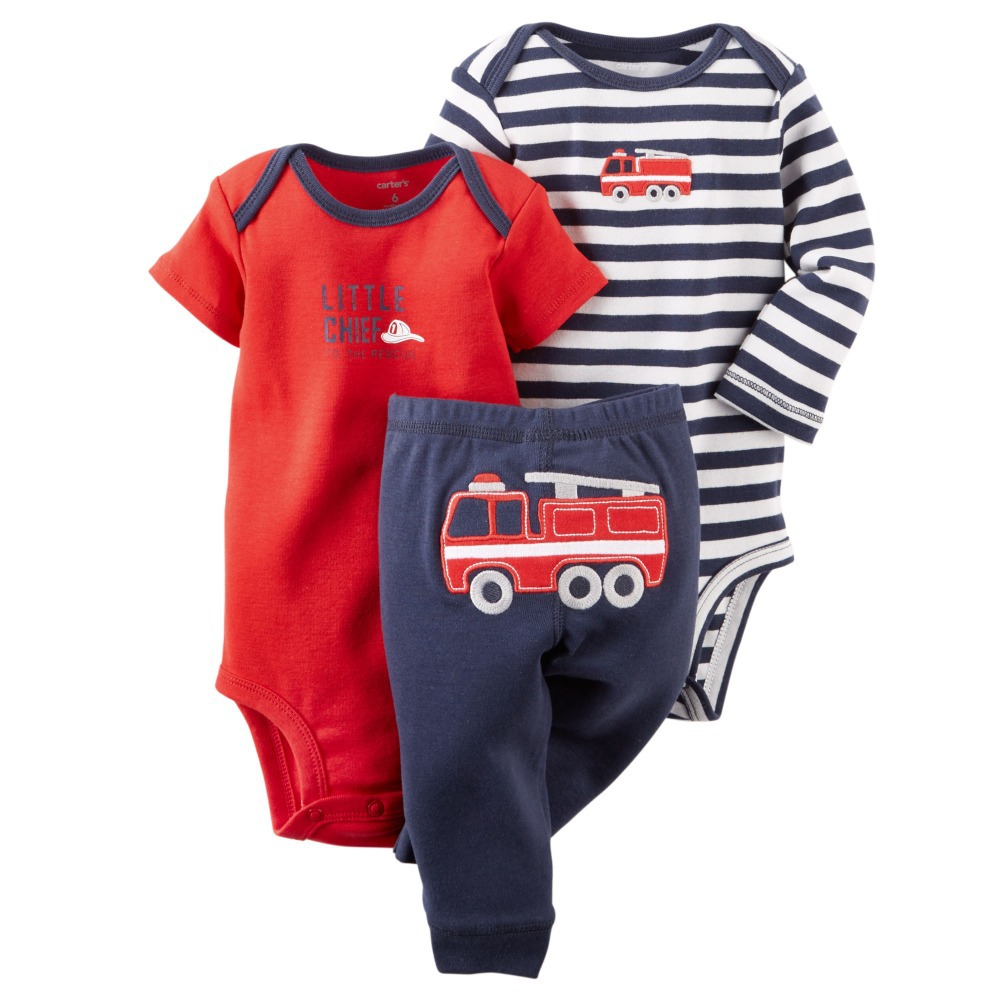S-FIRE TRUCK, New Spring Autumn 2015 3pcs Set, Carter's Bebe Boys Pants Outfits, Carters Baby Infantil Rompers Clothing Set(China (Mainland))
