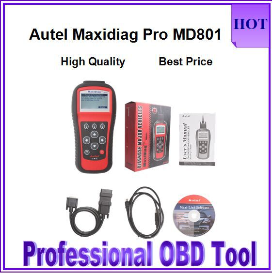 2015 Top-Rated Autel MaxiDiag PRO MD801 Auto Scanner 4 in 1 Code Reader MD801(JP701+EU702+US703+FR704)MD 801 With High Quality(China (Mainland))