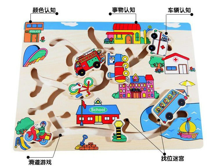 Children's educational toys wooden maze transport cars to find parking spaces(China (Mainland))