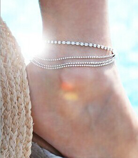 New Arrival Fashion Women's multi Layers Ankle Bracelet Chain Link Foot Crystal Beads Sandal Beach Anklet Jewelry For Female(China (Mainland))