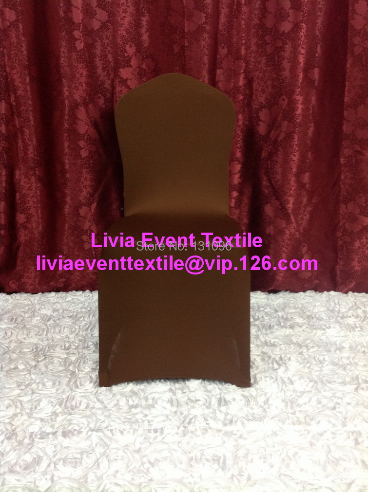 100pcs #31 Chocolate Brown Lycra Chair Cover Full front , Flat Front Lycra Chair Cover for Wedding Events &Party Decoration(China (Mainland))