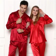 2015 Spring autumn Couple Pajamas silk embroidery Men Home Furnishing Sleepwear two piece sets pijama masculino bathrobe Red(China (Mainland))