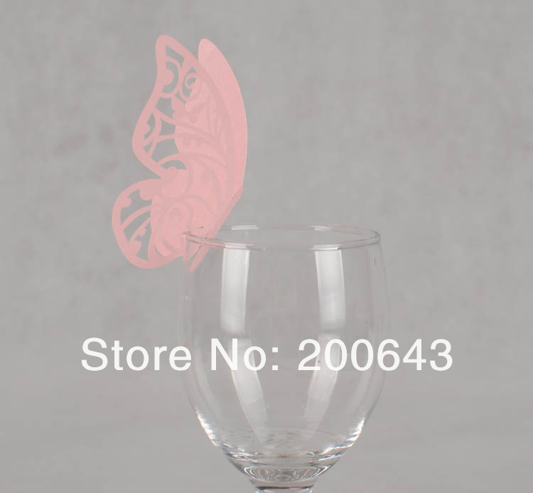 500pcs Wine glass Pink butterfly place,Laser Cutting butterfly wedding party place cards Free shipping(China (Mainland))