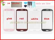 1pcs free shipping out lcd screen lens top glass for  s3 i9300 with open tools and 3M sticker(China (Mainland))