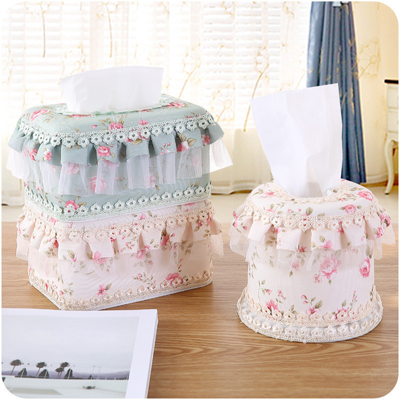 3Pcs/lot Multi-Function Fashion Lace Tissue Boxes Cute Home& Tissue Case Box Container Towel Napkin Papers bag(China (Mainland))
