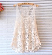 Fashion Sexy Lace Crochet Women Tank Tops Hollow Beach Cloth Sleeveless Camisole(China (Mainland))