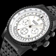 100% de acero inoxidable cronómetro Luxury Brand hombres reloj completo calendario función pequeña obra de línea relojes del cuarzo