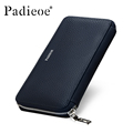 Padieoe Genuine Leather Mens Wallet Leather Zipper Long Wallets Man Business Male Purses Casual Cow Leather