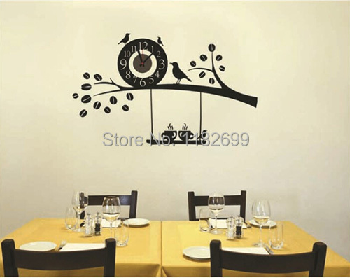 Wholesale Price Home Decorative Black Two Owls On the Tree Wall Clock Animal Waterpoof PVC Wall Stickers(China (Mainland))