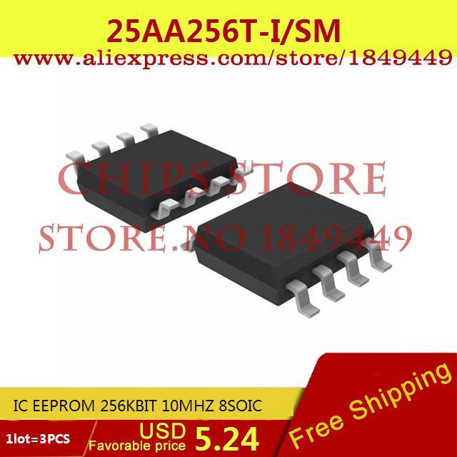 Бесплатная Доставка Электронный 25AA256T-I/SM IC EEPROM 256 КБИТ 10 МГЦ 8 SOIC 25AA256T-I 25AA256 25AA256T 3 ШТ. max6225aesa t 8 soic