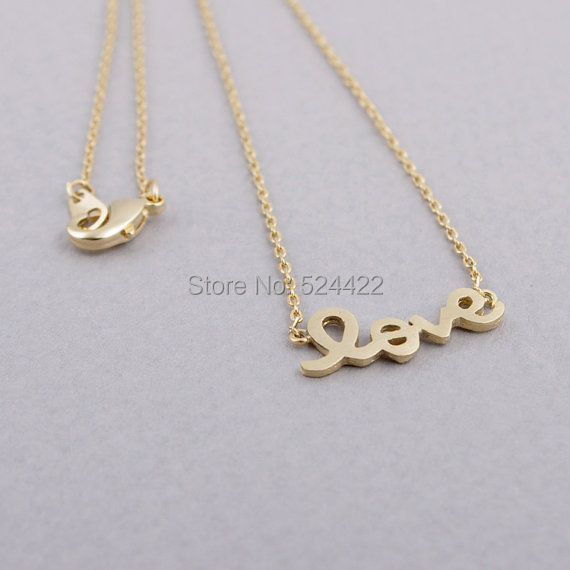 Min 1pc Korean style Love Letter Necklace in Gold and Silver XL052(China (Mainland))