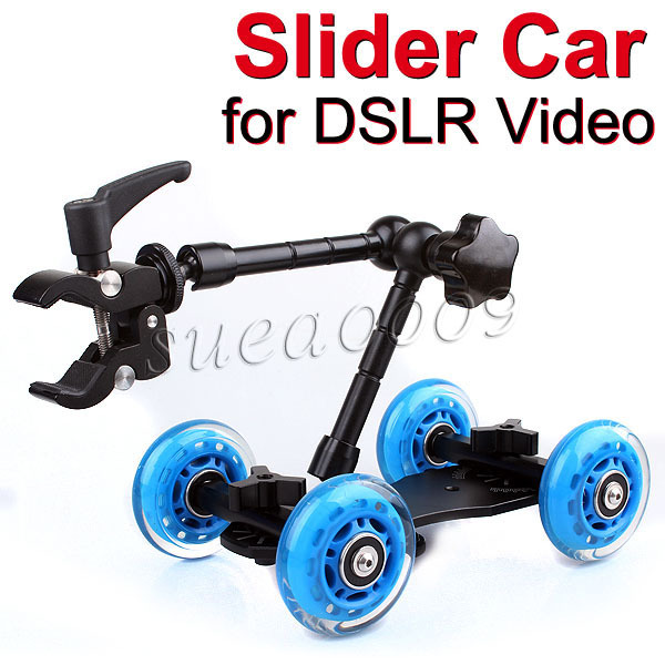 Blue DSLR Skater Wheel Camera Truck Top Dolly with 11 inch Articulating Magic Arm + Super Clamp kit(China (Mainland))