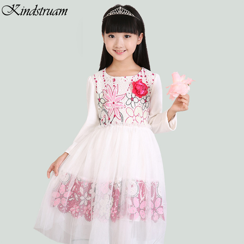 2016 New Arrival Girl Embroidery Floral Princess Dresses Big Girls Clothes Children Sweet Long ...