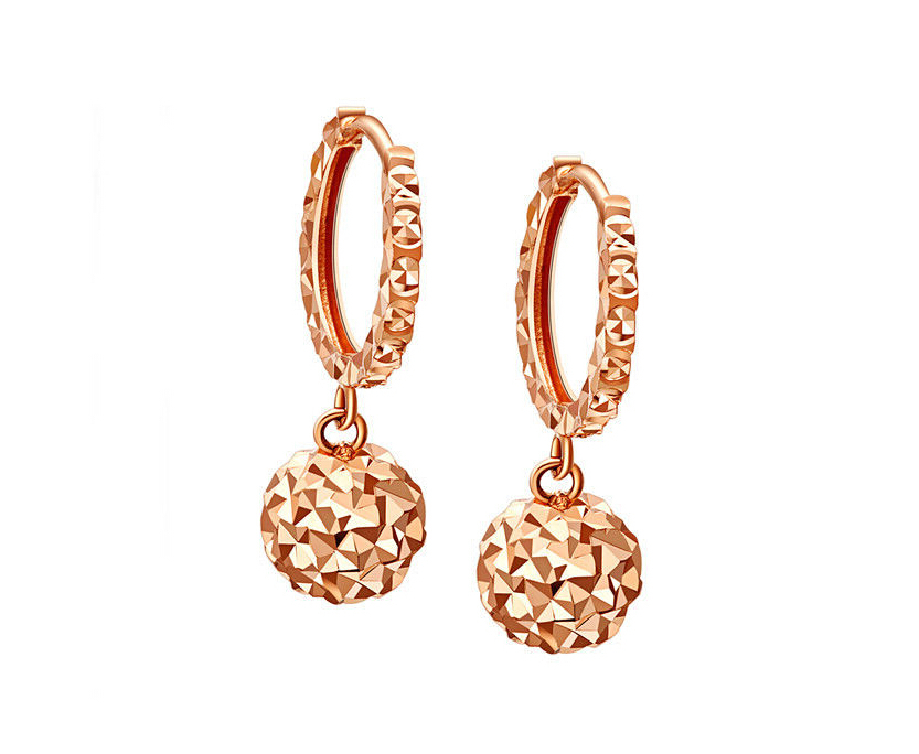 Pure Solid 18K Rose Gold Earring Craved Shinning Ball Earring /2.5G<br><br>Aliexpress