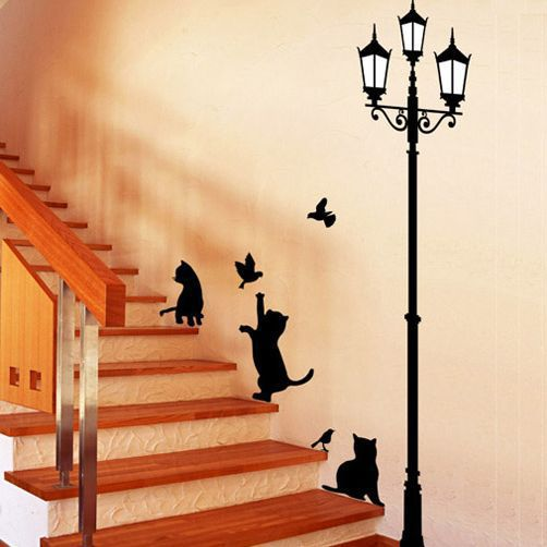 Free Shipping Popular Ancient Lamp Cats and Birds Wall Sticker Wall Mural Home Decor Room Kids Decals Wallpaper(China (Mainland))