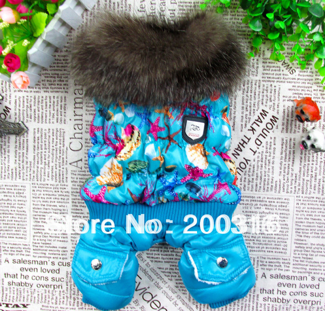 New Bright blue bubble padded luxury fur pet dogs winter coat Free shipping dogs clothes
