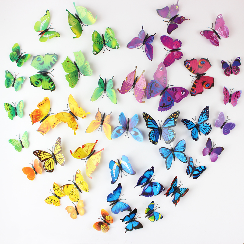12PCS/SET PVC 3D Butterfly Wall Sticker Wall Art Removable Home Decoration DIY Crafts Stcikers Home Decor Gifts For Kids Wall(China (Mainland))