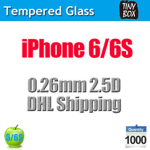 1000pcs/lot,2.5D 0.26mm Premium Tempered Glass round Screen Protector Protective Film for iPhone 6 6S,DHL Free